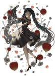 1girl bangs black_dress black_footwear blurry_foreground breasts collarbone commentary_request dress falling_leaves flower from_side grey_flower hatsune_miku high_heels jenevan leaf long-hair long_hair long_sleeves medium_breasts otome_dissection_(vocaloid) parted_lips shoes skeleton skull smile solo very_long_hair white_background