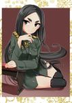 1girl aiguillette aohashi_ame black_eyes black_footwear black_hair blue_swimsuit boots closed_mouth commentary commission epaulettes fusou_empire_princess green_jacket hand_on_own_chin highres jacket long_hair long_sleeves looking_at_viewer military military_jacket military_uniform outside_border school_swimsuit shadow short_eyebrows sitting smile solo strike_witches_zero swimsuit swimsuit_under_clothes table thick_eyebrows thigh-highs thigh_boots uniform very_long_hair yokozuwari