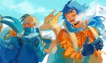 2boys backpack bag bangs black_hair blue_hair blush breath charizard clouds coat cold commentary_request dande_(pokemon) day facial_hair flygon gen_1_pokemon gen_3_pokemon gloves half-closed_eyes highres holding_strap kibana_(pokemon) long_hair looking_back mountain multiple_boys open_mouth orange_coat orange_headwear outdoors pokemon pokemon_(creature) pokemon_(game) pokemon_swsh sky snow teeth tokeru tongue yellow_eyes