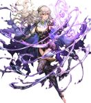 1girl armor armored_dress bangs cape corrin_(fire_emblem) corrin_(fire_emblem)_(female) fire_emblem fire_emblem_fates fire_emblem_heroes full_body gloves hairband highres long_hair manakete official_art pointy_ears red_eyes senchat shiny shiny_hair sleeveless solo thigh-highs toeless_legwear toes transparent_background white_hair