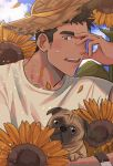 1boy animal bara blush brk_603 brown_eyes brown_hair close-up clouds cloudy_sky dog facial_hair floral_background flower hat male_focus original outdoors petals puppy shirt short_hair sideburns sky solo straw_hat sunflower sweatdrop upper_body yellow_eyes