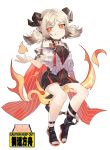 1girl :q absurdres arknights bare_legs black_dress black_footwear capelet chinese_commentary commentary_request dress highres horns ifrit_(arknights) invisible_chair looking_at_viewer low_twintails moyamoya_(moya11158375) open_toe_shoes orange_eyes pencil_dress shoes short_dress silver_hair simple_background sitting smile solo toenail_polish tongue tongue_out twintails white_background white_capelet younger
