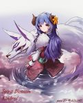 1girl ahoge alternate_costume alternate_eye_color alternate_hair_color alternate_hairstyle animal_ears bangs blue_hair blush ch06140 cherry_blossoms curled_horns flower fur gloves hair_between_eyes hair_flower hair_ornament holding holding_clothes hooves horns japanese_clothes kindred lamb_(league_of_legends) league_of_legends long_hair long_sleeves looking_at_viewer looking_back pixiv_id purple_hair smile spirit_blossom_kindred white_fur white_hair wolf wolf_(league_of_legends)