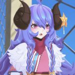 1girl :d ahoge alternate_costume alternate_eye_color alternate_hair_color alternate_hairstyle animated artist_request blue_hair blush curled_horns flower fur hair_between_eyes hair_flower hair_ornament horns houseki_no_kuni japanese_clothes kindred lamb_(league_of_legends) league_of_legends long_hair lowres open_mouth parody purple_hair replaceme ribbon smile spirit_blossom_kindred twintails white_fur