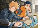 2boys baseball_cap blush book bookshelf brown_hair charmander closed_mouth commentary_request eraser eyelashes fire flame gen_1_pokemon hand_on_own_cheek hat highres holding holding_pencil holding_pokemon indoors long_sleeves looking_down multiple_boys ookido_green orange_hair paper pencil pokemon pokemon_(creature) pokemon_(game) pokemon_rgby red_(pokemon) spiky_hair squirtle table tokeru turtleneck watch watch
