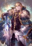 1boy armor black_gloves blonde_hair blue_cape blue_eyes cape collared_cape excalibur_galatine fate/extra fate/grand_order fate_(series) fur_collar gauntlets gawain_(fate/extra) gloves hand_on_hip highres holding holding_sword holding_weapon knight knights_of_the_round_table_(fate) long_sleeves looking_at_viewer male_focus open_mouth short_hair signo_aaa solo sword weapon