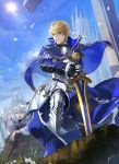 1boy armor armored_boots armored_dress arthur_pendragon_(fate) blonde_hair blue_cape blue_dress boots breastplate cape castle clouds dress excalibur excalibur_(fate/prototype) fate/grand_order fate/prototype fate_(series) faulds flower gauntlets greaves green_eyes hair_between_eyes highres holding holding_sword holding_weapon long_sleeves looking_to_the_side male_focus medium_hair merlin_(fate) merlin_(fate/prototype) outdoors pauldrons short_hair shoulder_armor signature sky smile solo staff sun sword weapon white_hair yogifog6312