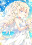 1girl ahoge bangs bare_arms bare_shoulders beach blonde_hair blue_eyes blush bouquet bracelet bridal_veil dress flower hair_flower hair_ornament holding holding_bouquet jewelry long_hair ocean original sky sleeveless sleeveless_dress smile solo standing veil white_dress yamadori_yoshitomo