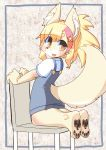 1girl :3 :d animal_ear_fluff animal_ears animal_nose blonde_hair chair commentary dog dog_ears dog_girl dog_tail fang foss_(osa0801) full_body furry hair_between_eyes highres long_hair looking_back open_mouth original osa0801 pawpads pink_headband ponytail short_sleeves smile snout solo star_(symbol) tail yellow_eyes yellow_fur