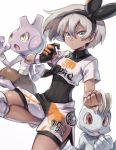 1girl bangs black_bodysuit black_hairband bodysuit bodysuit_under_clothes clenched_hand closed_mouth collared_shirt commentary covered_navel dynamax_band gen_1_pokemon gen_2_pokemon gloves grey_eyes grey_hair gym_leader hair_between_eyes hairband highres knee_pads looking_at_viewer machop pokemon pokemon_(creature) pokemon_(game) pokemon_swsh print_shirt print_shorts saitou_(pokemon) shirt short_hair short_sleeves shorts single_glove takase_(takase1214) tied_shirt tyrogue