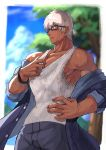 1boy alternate_costume alternate_hairstyle archer bara bellsaltr brown_eyes chest dark_skin dark_skinned_male fate/stay_night fate_(series) glasses highres male_focus muscle nipple_slip nipples pectorals shirtless short_hair solo summer_casual_(fate/grand_order) sweat tank_top undressing upper_body white_hair
