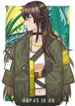 1girl black_choker black_gloves brown_eyes brown_hair camouflage camouflage_jacket character_name choker closed_mouth crossed_arms eyebrows_visible_through_hair girls_frontline gloves hair_ornament hair_ribbon jacket long_hair looking_away navel open_eyes ribbon scar scar_across_eye shirt silayloe simple_background solo ump40_(girls_frontline) ump45_(girls_frontline) white_shirt