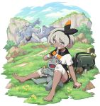 1girl absurdres bag bangs barefoot black_bodysuit black_hairband bodysuit bodysuit_under_clothes candy chocolate chocolate_bar clouds collared_shirt commentary_request day dynamax_band eyelashes food gen_1_pokemon gloves grass grey_eyes grey_hair gunjima_souichirou gym_leader hair_between_eyes hairband highres knee_pads machamp machoke machop outdoors pokemon pokemon:_twilight_wings pokemon_(anime) pokemon_(creature) print_shirt print_shorts rock saitou_(pokemon) sandals sandals_removed shirt short_hair short_sleeves shorts single_glove sitting sky teeth toes