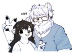 1boy 1girl ;d animal_ears animal_nose bear bear_boy bear_ears bear_girl black_eyes blouse blush brown_hair claws closed_eyes commentary eyebrows_visible_through_hair furry grin hair_between_eyes highres korean_text long_hair one_eye_closed open_mouth original pawpads polar_bear ressue_(gomgom) short_hair short_sleeves simple_background smile snout translation_request upper_body v white_background white_blouse white_fur white_hair