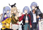 4girls ak-12_(girls_frontline) ak-15_(girls_frontline) alternate_costume alternate_hair_color alternate_hairstyle an-94_(girls_frontline) animal aqua_eyes artist_name badge bag bangs barrette belt black_choker black_pants blonde_hair blue_skirt breasts camouflage camouflage_jacket cat choker closed_eyes closed_mouth commentary_request defy_(girls_frontline) dog eyebrows_visible_through_hair girls_frontline glasses hair_between_eyes harness holding holding_animal holding_bag holding_cat holding_dog holding_hands hood hoodie jacket long_hair looking_away medium_hair multiple_girls open_eyes open_mouth pants patch playing ponytail purple_hair rpk-16_(girls_frontline) shirt shopping_bag silayloe skirt tail tail_wagging violet_eyes white_background white_shirt yellow_jacket