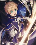 1boy armor armored_dress arthur_pendragon_(fate) black_background blonde_hair blue_cape blue_dress breastplate cape dress excalibur excalibur_(fate/prototype) eyebrows eyebrows_visible_through_hair fate/grand_order fate/prototype fate_(series) faulds gauntlets glowing glowing_sword glowing_weapon greaves green_eyes hair_between_eyes highres holding holding_sword holding_weapon male_focus open_mouth pauldrons sayu_(kamicimo) short_hair shoulder_armor simple_background solo sword weapon