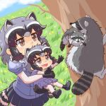2girls :d animal animal_ear_fluff animal_ears black_gloves black_hair black_skirt blue_dress blue_shirt brown_eyes carrying child commentary_request common_raccoon_(kemono_friends) creature_and_personification dress dual_persona extra_ears eyebrows_visible_through_hair fang gloves grass grey_hair kemono_friends multicolored_hair multiple_girls open_mouth puffy_short_sleeves puffy_sleeves raccoon raccoon_ears raccoon_girl raccoon_tail shirt short_hair short_sleeves skirt smile striped_tail tail tree umikazenet3 younger