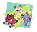blue_eyes commentary fang flower gen_1_pokemon green_eyes highres kiana_mai kojirou_(pokemon) meowth musashi_(pokemon) pokemon pokemon_(anime) pokemon_(creature) rose simple_background team_rocket translated yellow_sclera