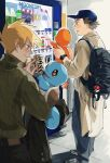 2boys backpack bag baseball_cap blush bottle brown_hair can charmander closed_mouth coat commentary_request eyebrows_visible_through_hair fire flame gen_1_pokemon green_sweater hat highres holding holding_pokemon looking_down multiple_boys older ookido_green orange_hair pants poke_ball poke_ball_(basic) pokemon pokemon_(creature) pokemon_(game) pokemon_rgby red_(pokemon) shoes smile sneakers spiky_hair squirtle sweater tokeru vending_machine watch watch