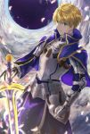 1boy armor armored_dress arthur_pendragon_(fate) blonde_hair blue_cape blue_dress breastplate cape dress excalibur excalibur_(fate/prototype) eyebrows eyebrows_visible_through_hair fate/grand_order fate/prototype fate_(series) faulds gauntlets greaves green_eyes hair_between_eyes highres holding holding_sword holding_weapon light_smile looking_at_viewer male_focus pauldrons petals sa_nomaru short_hair shoulder_armor smile solo sword weapon