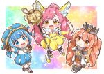 3girls :d absurdres arm_up bare_shoulders black_legwear blue_eyes blue_hair blue_headwear blue_skirt blue_sleeves blush boots brown_eyes brown_footwear brown_gloves brown_hair chain chibi closed_mouth collared_shirt commentary_request copyright_request crown detached_sleeves dress elbow_gloves fur-trimmed_gloves fur_trim gloves grey_footwear hat high_ponytail highres holding holding_staff jako_(jakoo21) multiple_girls open_mouth pink_hair puffy_short_sleeves puffy_sleeves round_teeth shirt short_sleeves skirt sleeveless sleeveless_dress sleeveless_shirt smile staff teeth thigh-highs thighhighs_under_boots twintails upper_teeth white_dress white_shirt yellow_dress yellow_footwear yellow_gloves