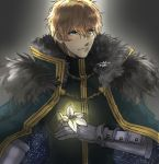 1boy armor black_gloves blonde_hair blue_cape blue_eyes cape collared_cape fate/extra fate/grand_order fate_(series) flower fur_collar gauntlets gawain_(fate/extra) gloves grey_background holding holding_flower knight knights_of_the_round_table_(fate) long_sleeves looking_to_the_side male_focus mtk236 short_hair signature simple_background solo upper_body