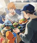 2boys bangs baseball_cap blush bowl carton chair charmander collarbone commentary_request fingernails food gen_1_pokemon glass hat highres holding holding_tray indoors licking_lips multiple_boys ookido_green orange_hair pokemon pokemon_(creature) pokemon_(game) pokemon_rgby red_(pokemon) salad shirt sitting squirtle sweatdrop table tokeru tongue tongue_out tray