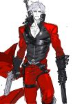 1boy arm_belt bare_chest belt belt_buckle black_footwear black_gloves blue_eyes buckle closed_mouth collarbone dante_(devil_may_cry) devil_may_cry devil_may_cry_2 dual_wielding gloves green_hair grey_hair gun handgun highres holding holding_gun holding_weapon male_focus ogata_tomio simple_background sketch solo sword thigh_strap weapon weapon_on_back white_background zipper