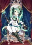 1girl absurdres aqua_eyes aqua_hair aqua_skirt black_gloves crown fenghu_(huli) gloves happy_birthday hatsune_miku highres holding holding_staff looking_at_viewer mini_crown sitting skirt solo staff thigh-highs throne vocaloid