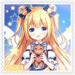 >_< 1girl :d bangs bear_hair_ornament blonde_hair blue_bow blue_eyes blush bow collared_shirt copyright_request detached_sleeves eyebrows_visible_through_hair fang hair_bow hair_ornament hair_rings hands_up holding holding_stuffed_animal long_hair looking_at_viewer nail_polish open_mouth pink_nails puffy_short_sleeves puffy_sleeves shirt short_sleeves sleeveless sleeveless_shirt smile solo star_(symbol) striped striped_bow stuffed_animal stuffed_toy teddy_bear tengxiang_lingnai two_side_up white_shirt white_sleeves
