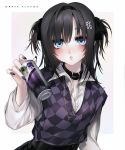 bad_id bad_twitter_id black_hair blue_eyes collar collared_shirt cross cross_necklace ear_piercing hair_intakes hair_ornament highres jewelry necklace original piercing purple_nails shirt tagme twintails unxi