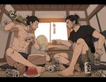 2boys ^_^ abs annoyed arm_hair arm_up barefoot beer_can black_hair black_shirt blurry blurry_background book bottle boxers calendar_(object) can chest_hair closed_eyes collarbone contemporary cup cushion drunk electric_fan facial_hair facing_another food frown fruit full_body ghost_of_tsushima grey_shorts grin hair_bun holding holding_bottle holding_can holding_cup indian_style indoors knee_up leg_hair looking_at_another male_focus messy_hair multiple_boys nipples pectorals plate pouring profile ryuzo_(ghost_of_tsushima) sakai_jin sakazuki sake_bottle shirt shirtless short_hair shorts sitting sliding_doors smile snack stubble table underwear watermelon wind_chime window yukko93