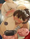 1boy 1other ambiguous_gender blush brown_hair dagashi_(daga2626) dark_skin full-face_blush furry hand_on_another's_head highres horizontal_pupils hug hug_from_behind made_in_abyss mechanical_arms nanachi_(made_in_abyss) regu_(made_in_abyss) sharp_teeth sweat tail tearing_up teeth whiskers white_hair yellow_eyes