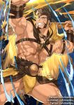 1boy abs bara brown_hair bulge chest chest_harness facial_hair fighting_stance goatee hercules_(tokyo_houkago_summoners) kienbiu male_focus manly muscle nipples pectorals revealing_clothes shirtless short_hair sideburns solo thick_thighs thighs tokyo_houkago_summoners upper_body