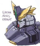 absurdres character_name english_text from_side green_eyes gundam gundam_aegis_knight gundam_build_divers gundam_build_divers_re:rise highres jugon_sushi looking_ahead mecha no_humans simple_background solo upper_body v-fin white_background