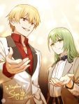 2boys alternate_costume black_neckwear blonde_hair bow bowtie contemporary dated enkidu_(fate/strange_fake) fate/grand_order fate_(series) gilgamesh green_eyes green_hair grey_jacket grin jacket jewelry lofter_username long_hair multiple_boys necklace outstretched_hand red_eyes red_shirt shirt signature siya_ho smile tuxedo upper_body white_jacket