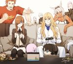 4girls 5boys anastasia_(fate/grand_order) animal_ears blonde_hair blush brown_hair buster_shirt caenis_(fate) candy character_doll couch dark_skin eyepatch facial_hair fate/grand_order fate_(series) food fujimaru_ritsuka_(male) gloves goatee kadoc_zemlupus kirschtaria_wodime lollipop long_hair mash_kyrielight multiple_boys multiple_girls napoleon_bonaparte_(fate/grand_order) nintendo_switch ophelia_phamrsolone pantyhose pink_hair playing_games scandinavia_peperoncino signature siya_ho viy white_background white_gloves white_hair