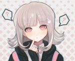 1girl ? akiko_141 bangs black_gloves black_jacket blunt_bangs blush commentary_request danganronpa eyebrows_visible_through_hair face fingerless_gloves flipped_hair gloves hair_ornament hairclip hand_up highres index_finger_raised jacket looking_at_viewer medium_hair nanami_chiaki parted_lips pink_ribbon ribbon shirt solo sparkle speech_bubble spoken_question_mark super_danganronpa_2 white_shirt wing_collar