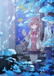 1boy 1girl absurdres air_bubble aquarium black_hair black_legwear black_skirt blue_neckwear bow brown_hair bubble dating fish highres holding_hands kawanobe kneehighs long_hair necktie original red_bow school_of_fish school_uniform skirt tile_floor tiles uniform
