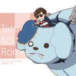 >:) 1boy animal_nose bow bowtie brown_hair buernia character_name checkered checkered_background dog english_commentary highres long_sleeves mecha parody pink_background plants_vs_zombies romero_(zombie_land_saga) short_hair simple_background solo sunglasses tatsumi_koutarou teeth white_background zombie zombie_land_saga
