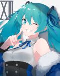 1girl absurdres bangs bare_shoulders blue_eyes blue_jacket blue_ribbon breasts buttons collared_shirt commentary detached_sleeves dress_shirt eyebrows_behind_hair fhang finger_to_cheek fur-trimmed_jacket fur_trim green_hair grey_background grin hair_between_eyes hair_ornament hair_ribbon hand_up hatsune_miku highres index_finger_raised jacket long_hair long_sleeves looking_at_viewer medium_breasts neck_ribbon off_shoulder one_eye_closed open_clothes open_jacket ribbon roman_numerals shiny shiny_hair shiny_skin shirt simple_background sleeveless sleeveless_shirt smile solo symbol_commentary teeth twintails upper_body vocaloid white_shirt