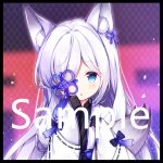1girl :o animal_ear_fluff animal_ears azur_lane bangs black_border black_gloves black_kimono blue_eyes blue_ribbon blush border gloves hair_over_one_eye hair_ribbon hand_up holding japanese_clothes kasumi_(azur_lane) kimono long_hair long_sleeves open_clothes parted_lips ribbon sample silver_hair sleeves_past_wrists solo tengxiang_lingnai wide_sleeves