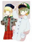 1girl :o ;> adjusting_headwear arm_up bag bangs baseball_cap black_headwear blonde_hair blush_stickers bob_cut brown_hair buttons character_name clenched_hand closed_mouth coat cowboy_shot dress earrings film_grain from_side grey_jacket hand_in_pocket hand_on_own_cheek hand_up hat heart heart_print jacket jewelry lavender_background long_sleeves looking_at_viewer looking_to_the_side matsuo_mono mixed_media multiple_views nail_polish no_nose one_eye_closed open_clothes open_jacket parted_lips phenotas plaid plaid_dress pocket real_life red_dress rounded_corners short_hair shoulder_bag signature smile two-tone_background white_background yakumo_miko