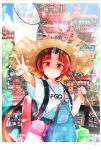 1girl architecture backpack bag benienma_(fate/grand_order) butterfly_net east_asian_architecture fate/grand_order fate_(series) gomennasai hand_net hat highres overalls red_eyes redhead smile straw_hat summer sunlight v