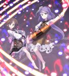2girls bare_legs barefoot black_skirt brown_dress brown_eyes brown_hair clenched_teeth collared_shirt commentary_request danmaku dress eyebrows_behind_hair flower frilled_skirt frills full_body glowing grin hair_flower hair_ornament hairband hand_up leaf leg_up long_hair long_sleeves looking_at_viewer multiple_girls musical_note puffy_long_sleeves puffy_sleeves purple_hair sheet_music shirt short_hair siblings skirt smile spell_card staff_(music) sunyup teeth touhou tsukumo_benben tsukumo_yatsuhashi v-shaped_eyebrows violet_eyes white_shirt