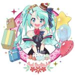 1girl bag balloon bare_shoulders birthday_cake black_dress blue_eyes blue_hair cake cake_hat candle commentary dress flower food food_themed_hair_ornament fruit fuusen_neko gift hair_ornament happy_birthday hatsune_miku heart_balloon macaron open_mouth paper_bag rose sleeveless sleeveless_dress solo star_balloon strapless strapless_dress strawberry twintails vocaloid