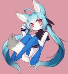 1girl :3 ahoge animal_ears animal_nose bare_shoulders bat_ears between_legs blue_dress blue_footwear blue_hair blush borrowed_character closed_mouth commentary_request dress eyebrows_visible_through_hair eyelashes fictional_persona flat_chest fox fox_girl fox_tail full_body furry hair_between_eyes highres korean_commentary long_hair looking_to_the_side original pink_background red_eyes ressue_(gomgom) simple_background sisimaru_(sbi_arki) snout solo tail tail_between_legs twintails white_fur