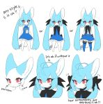 1girl :3 ahoge animal_ears animal_nose bare_shoulders bat_ears black_bow blue_dress blue_footwear blue_hair bow closed_mouth dress english_commentary english_text eyelashes fictional_persona fox fox_girl fox_tail furry hair_bow highres long_hair looking_at_viewer mixed-language_commentary multiple_views original red_eyes reference_sheet sbi_arki simple_background sisimaru_(sbi_arki) smile standing tail white_background white_fur