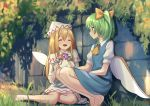 2girls :d ^_^ ascot bangs bare_legs barefoot blonde_hair blue_dress bow brick_wall capelet closed_eyes commentary_request daiyousei dress facing_another fairy_wings flower_wreath grass green_eyes green_hair hair_between_eyes hair_bow hat lily_white long_hair looking_at_another multiple_girls on_grass open_mouth outdoors plant roke_(taikodon) short_sleeves side_ponytail sitting smile squatting touhou wall white_capelet white_dress white_headwear wings yellow_bow yellow_neckwear yokozuwari