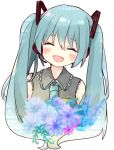 1girl :d ^_^ bangs bare_shoulders blue_flower blue_hair blue_neckwear blue_rose blush closed_eyes collared_shirt commentary english_commentary eyebrows_visible_through_hair facing_viewer flower gradient_hair green_hair grey_shirt hair_between_eyes hair_ornament hatsune_miku head_tilt headphones headset highres long_hair multicolored_hair necktie open_mouth purple_flower rose shirt sleeveless sleeveless_shirt smile solo tsukiyo_(skymint) twintails upper_body vocaloid